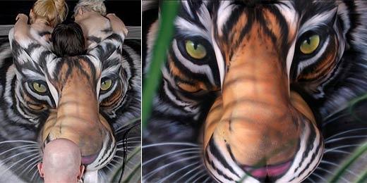 Artista Transforma Tr S Mulheres Nuas Em Tigre Pintura Corporal