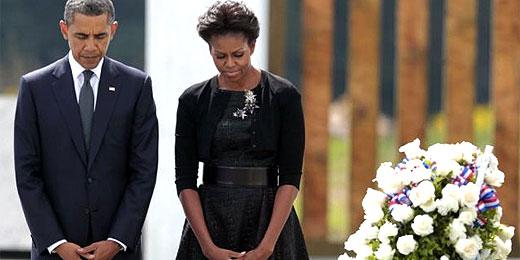 Obama e Michelle visitam memorial na Pensilvânia, onde caiu o 4º avião
