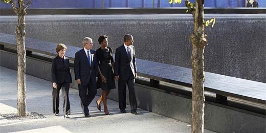 Obama e Michelle chegam a NY ao lado de Bush e sua mulher